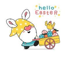 simpatico gnomo pasquale orecchie da coniglio cartone animato e pulcino giallo bambino in camion rosa con uova di Pasqua. buona pasqua, carino doodle cartoon vector primavera pasqua clipart