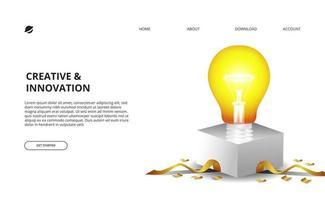 Lampadina 3d bagliore con scatola bianca e illustrazione di coriandoli dorati per il business e il concetto di innovazione vettore