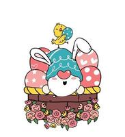 simpatico gnomo pasquale orecchie da coniglio cartone animato e pulcino giallo bambino nel cestino delle uova di Pasqua. buona pasqua, carino doodle cartoon vector primavera pasqua clipart
