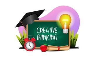concetto di pensiero di educazione creativa con illustrazione di lavagna, luce, cappello di laurea vettore