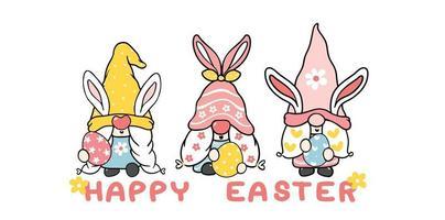 tre carino dolce gnomo coniglietto di pasqua con orecchie di coniglio, bandiera di vettore del fumetto di buona Pasqua