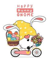 carino gnomo pasquale orecchie da coniglio cartone animato su rosa dolce floreale bicicletta con cesto di uova di pasqua. buona pasqua, carino doodle cartoon vector primavera pasqua clipart