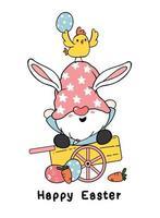 simpatico gnomo pasquale orecchie da coniglio cartone animato e pulcino giallo bambino sul carrello di legno con uova di Pasqua. buona pasqua, carino doodle cartoon vector primavera pasqua clipart