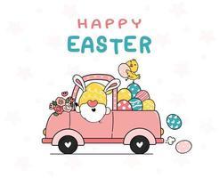 simpatico coniglietto gnomo cartone animato e pulcino giallo bambino in camion rosa con uova di Pasqua. buona pasqua, carino doodle cartoon vettore primavera pasqua