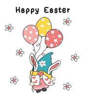simpatico coniglietto di pasqua orecchie gnomo tenere palloncini uovo in pastello colore primaverile, buona pasqua, simpatico cartone animato illustrazione doodle disegno contorno vettoriale clipart