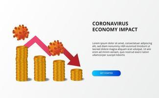 diffondere l'impatto sull'economia del coronavirus. economia downall. ha colpito il mercato azionario e l'economia globale. grafico denaro con freccia rossa ribassista vettore