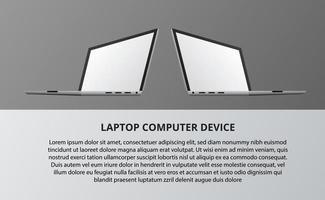 mockup del display del computer portatile. Dispositivo 3D isometrico per la tecnologia. vettore
