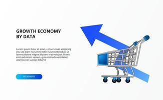 la crescita dell'economia dello shopping al dettaglio con l'illustrazione del carrello del carrello e il concetto di freccia blu su vettore