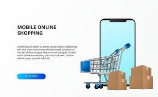 concetto di acquisto online con smartphone con carrello carrello e pacchetto di cartone vettore