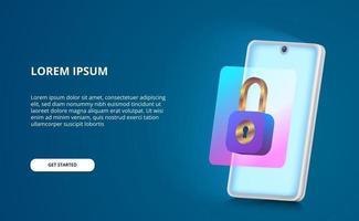 sicurezza per il concetto di handphone 3d con illustrazione moderna a gradiente di lucchetto e schermo bagliore con sfondo blu vettore