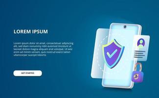 concetto di sicurezza per smartphone anti hack, spia e virus con schermo bagliore. vettore