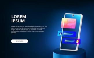 Modello di progettazione dell'interfaccia utente dello smartphone con schermo di visualizzazione a gradiente di colore al neon moderno 3d per chat con sfondo scuro. vettore