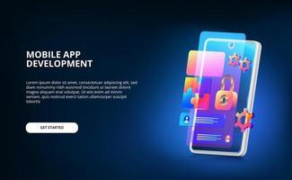 sviluppo di app mobili moderne con design dell'interfaccia utente dello schermo, lucchetto e sistema di ingranaggi con colori sfumati al neon e smartphone 3D con schermo luminoso. vettore