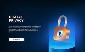 Lucchetto 3d che galleggia con il concetto futuristico dell'illustrazione di pendenza moderna blu per la sicurezza e la sicurezza personale digitale della privacy vettore