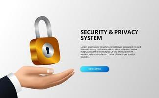 concetto di illustrazione del sistema di sicurezza e privacy con lucchetto a portata di mano vettore