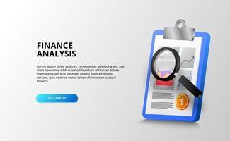 report analisi grafico dati con appunti e lente di ingrandimento per audit, contabilità e controllo per finanza, banche, affari e ufficio. vettore