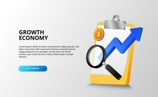 economia della crescita e affari per il futuro e il concetto di previsione con illustrazione della freccia blu, lente di ingrandimento, moneta d'oro. vettore