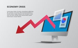 economia ribassista con freccia rossa e prospettiva 3d desktop computer dispositivo. visualizzazione dei dati in infografica con grafici e statistiche. vettore