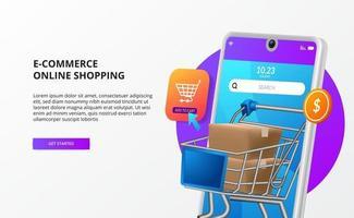 shopping online acquista sul concetto di pagina di destinazione del commercio elettronico mobile illustrazione del telefono 3d con il carrello del carrello del pacchetto vettore