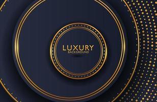 sfondo elegante di lusso con elemento cerchio d'oro e particelle di punti sulla superficie scura. layout di presentazione aziendale vettore