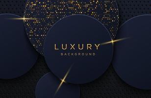 sfondo elegante di lusso con motivo punteggiato oro lucido isolato su fondo nero. sfondo astratto realistico papercut. elegante modello di copertina vettore