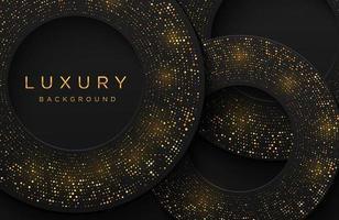 sfondo di lusso elegante forma 3d con motivo punteggiato oro scintillante isolato su nero. sfondo astratto realistico papercut. modello elegante vettore