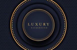 sfondo elegante di lusso con elemento cerchio in oro lucido e particelle di punti sulla superficie di metallo nero scuro. layout di presentazione aziendale vettore