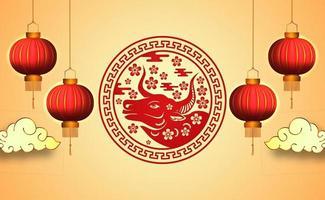 felice fortuna fortunata capodanno cinese con colore rosso e banner lanterna vettore