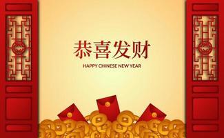 felice fortuna fortunata capodanno cinese con colore rosso e bandiera busta rossa soldi d'oro vettore