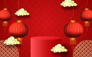 podio del capodanno cinese, lanterne e nuvole vettore