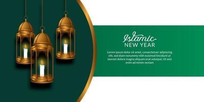 capodanno islamico. felice muharram. lanterne dorate arabe appese con sfondo verde e bianco. vettore