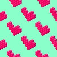 Modello senza cuciture di cuori pixel isometrici su sfondo verde chiaro. vettore