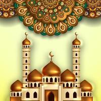 illustrazione della costruzione della moschea della cupola dorata con il modello tradizionale dell'ornamento della mandala. evento islamico mese sacro digiuno ramadan kareem mubarak vettore
