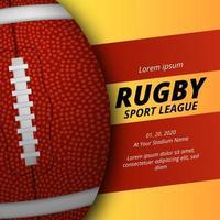 modello di banner poster di rugby football americano con palla ovale 3d vettore
