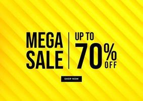 mega vendita, banner di saldi estivi. sfondo giallo offerte speciali e design modello di promozione. vettore