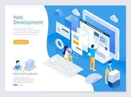 web design e sviluppo illustrazioni isometriche vettoriali. vettore