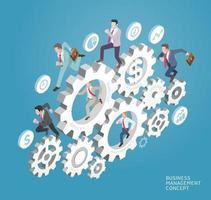concetto di gestione aziendale. gli uomini d'affari corrono sugli ingranaggi. illustrazioni vettoriali. vettore