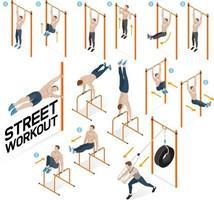 esercizi di allenamento in strada. illustrazioni vettoriali. vettore