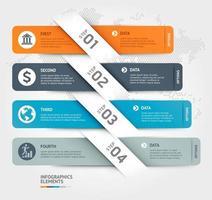 modello di elementi di infographics di affari. illustrazioni vettoriali. può essere utilizzato per il layout del flusso di lavoro, banner, diagramma, opzioni di numero, web design, modello di sequenza temporale. vettore