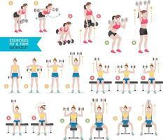 donna allenamento fitness, aerobica ed esercizi. illustrazione vettoriale. vettore