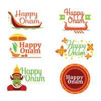 Set di Happy Onam Card vettore