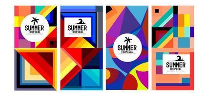 vettore colorato sfondo geometrico e tropicale estate banner