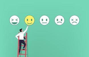 uomo d'affari sulla scala dando un feedback con il concetto di simbolo di emoticon. illustrazione vettoriale di soddisfazione del cliente