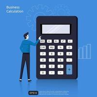 concetto di calcolo di affari con il carattere dell'uomo d'affari e l'illustrazione piana di vettore del simbolo della calcolatrice.