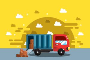 vettore di camion in movimento