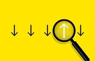 concetto di affari con frecce e illustrazione vettoriale lente di ingrandimento