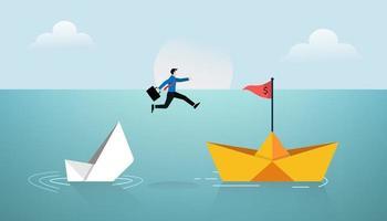 imprenditore saltare sul nuovo concetto di nave di carta. illustrazione di vettore di simbolo di affari