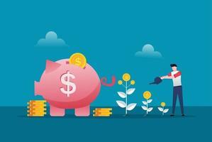 uomo d'affari sta innaffiando l'albero dei soldi crescere. crescita degli utili finanziari e illustrazione vettoriale di investimento intelligente. ritorno sull'investimento con il simbolo del salvadanaio