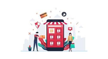 concetto di illustrazione vettoriale di shopping online che mostra il cliente che riceve la consegna dal sito Web di e-commerce da smartphone, adatto per pagina di destinazione, interfaccia utente, web, app, editoriale, flyer e banner.