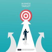 nuovo concetto di modo per target aziendale. uomo d'affari che mira l'obiettivo sulla strada all'aperto. opportunità e nuova idea di percorso. illustrazione vettoriale